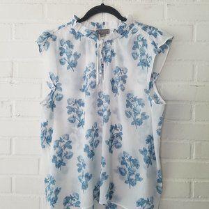 POINT SUR J CREW Blue white floral top shirt XL